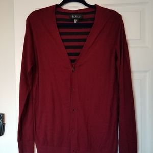 Mens XS Cardigan - Burgundy with Navy Stripes